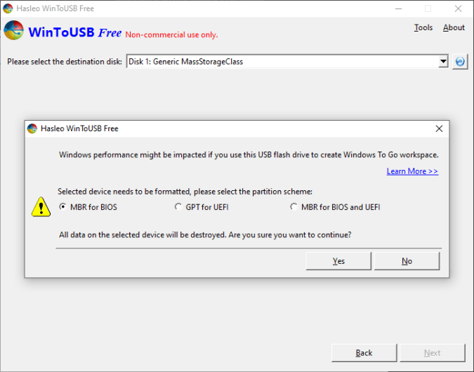 select-format-type-in-winToUSB