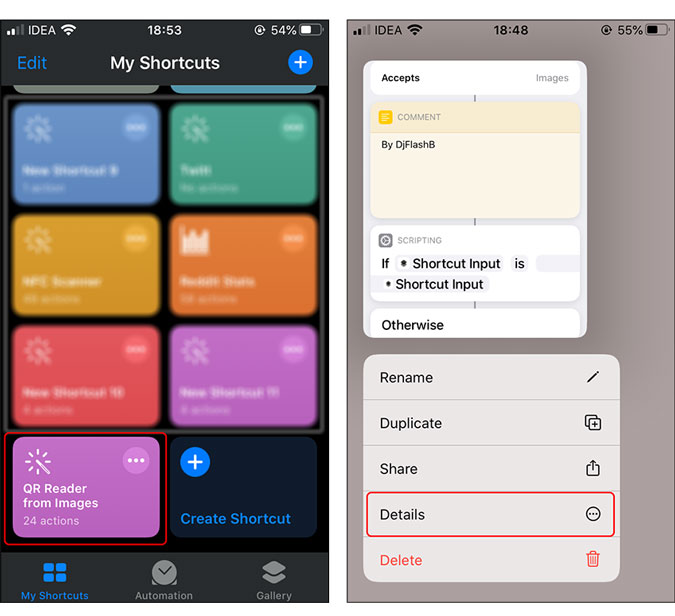 Tap the shortcut and tap details