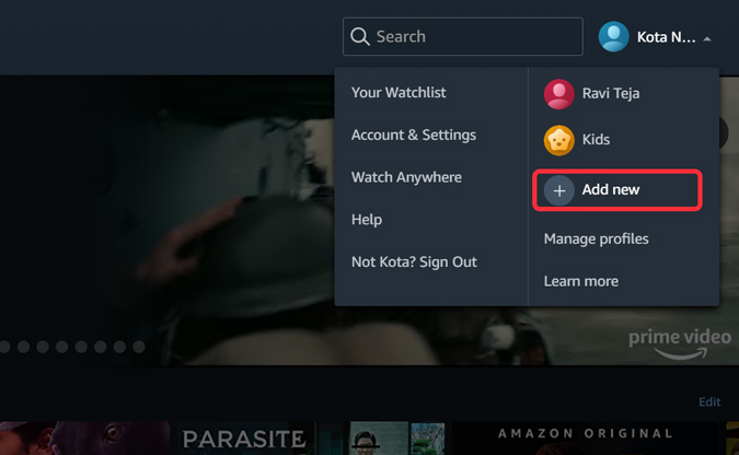 Creating a profile in Prime Video on Desktop PC