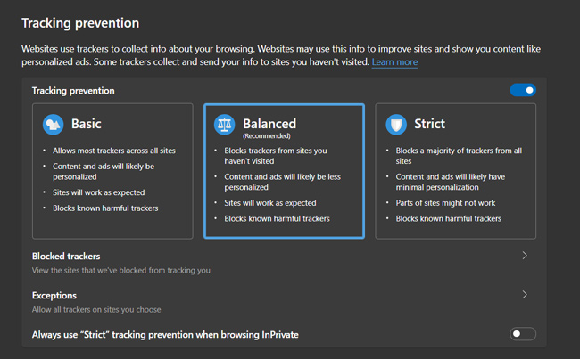 Balanced block tracking mode on Edge Chromium