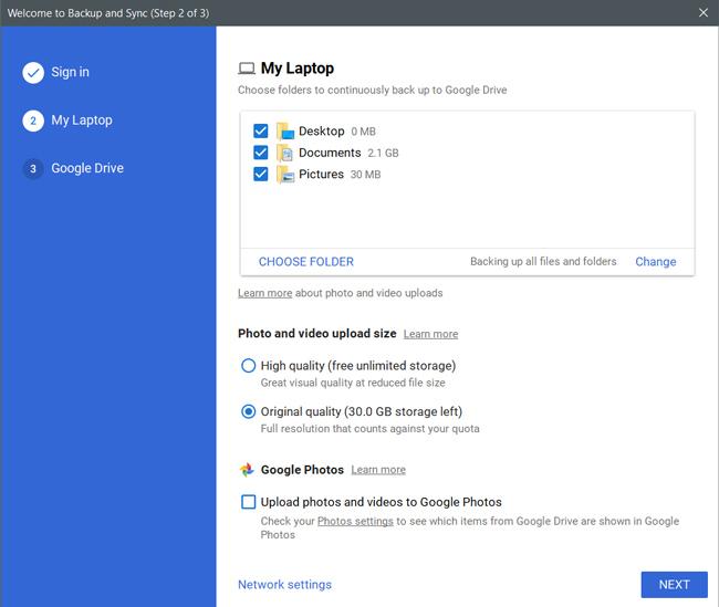 Selecting folders on Windows to backup to drive
