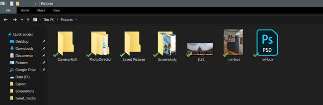 Backed up folders and files in File Explorer