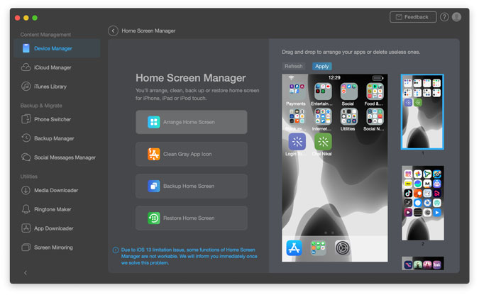 home screen manager