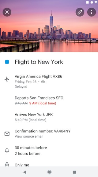 real-time flight info from gmail in calendar