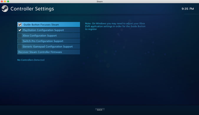 gampad controller settings to control the interface