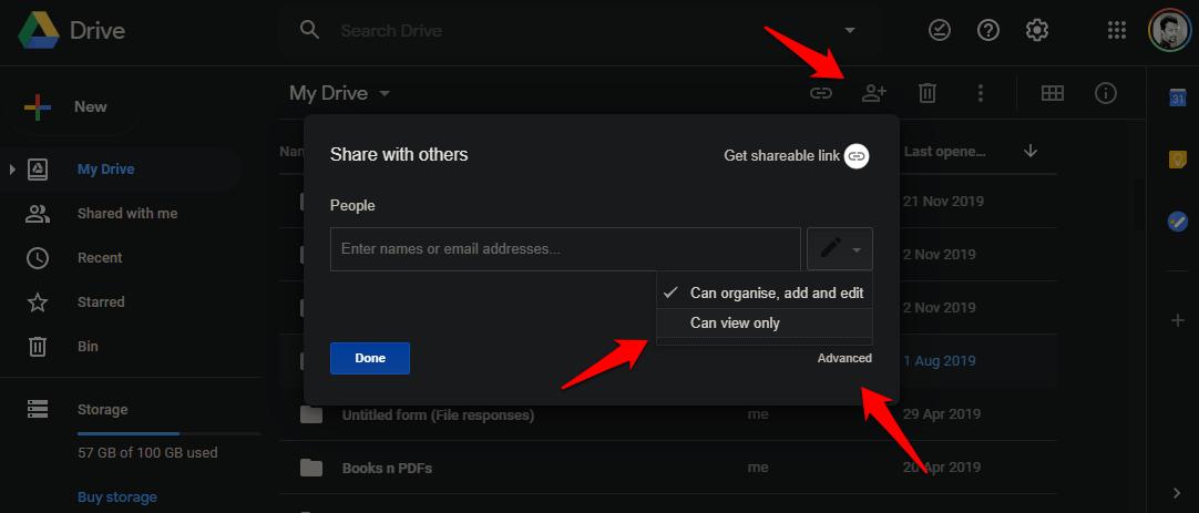google drive how to share folders