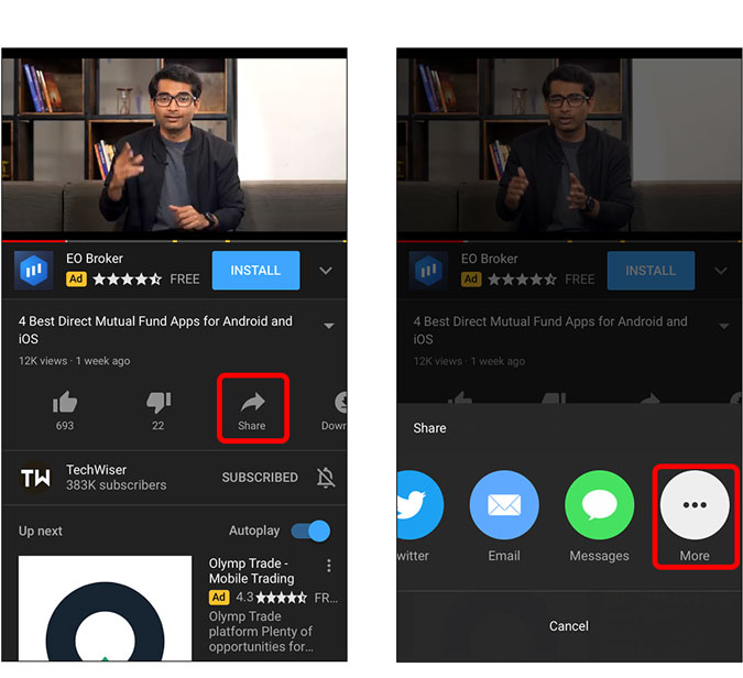 share button and more