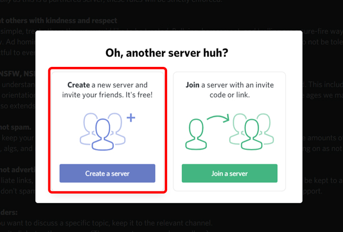 creating a server on discord