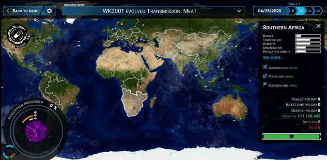 World Map in Outbreak game