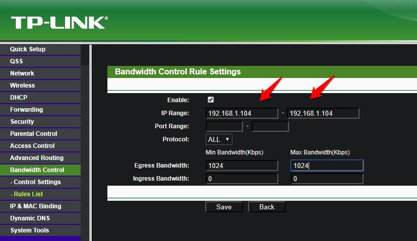 single ip to limit bandwidth