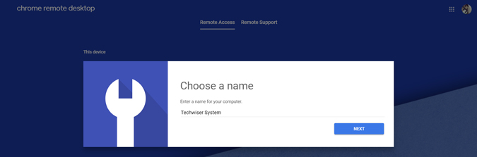 Giving a name to host device for remote desktop