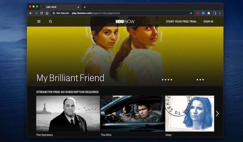 HBO NOW main page
