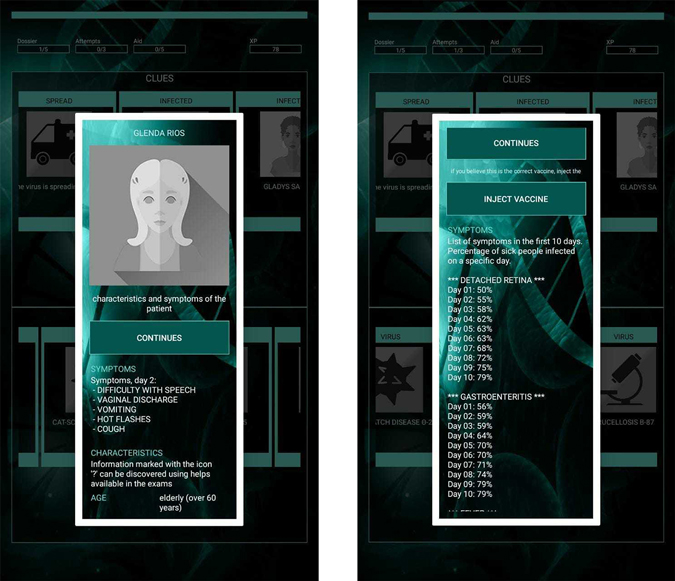 Images showing details of patient and virus in Medibot game