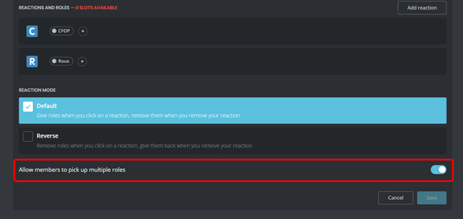 Allowing members to pickup multiple roles