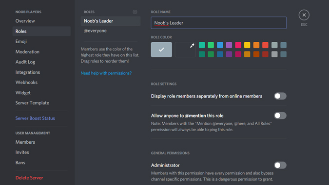 Managing roles on your discord server