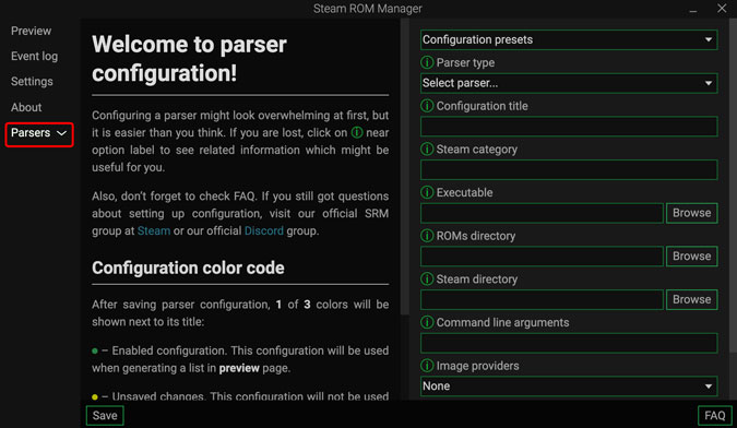 click parsers to begin setup on Steam ROM manager