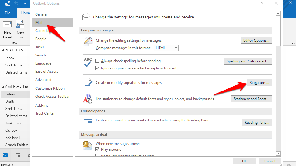 outlook signatures setting
