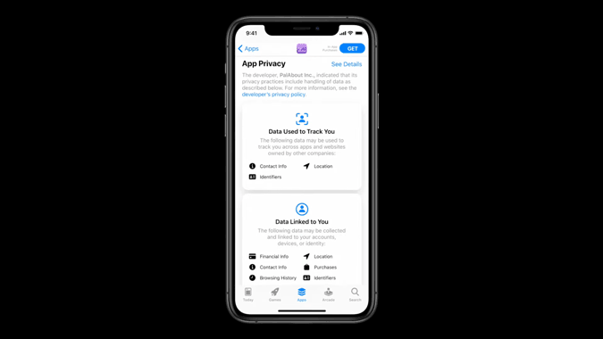 Apple App store showing App privacy featues of iOS 14