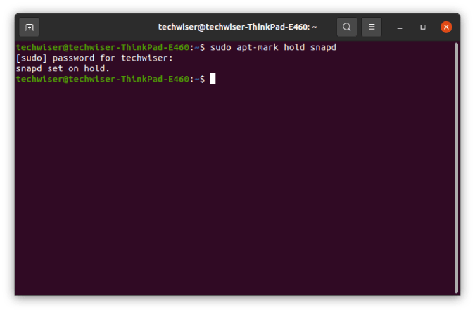 apt-put-snapd-package-on-hold