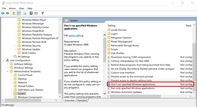 Enabling not running specific applications using group policy
