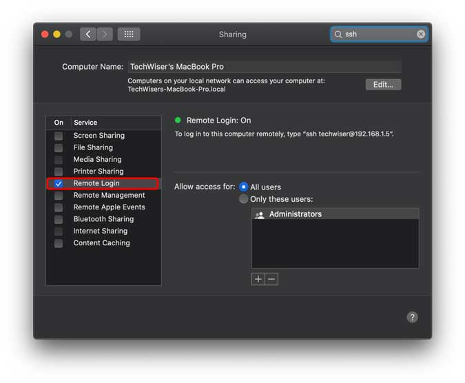 Enable remote login on your mac