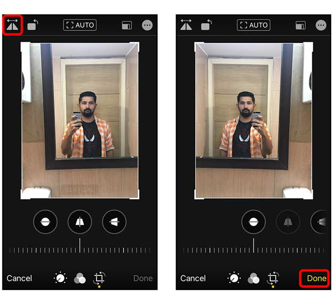 tap flip vertically to mirror your selfie