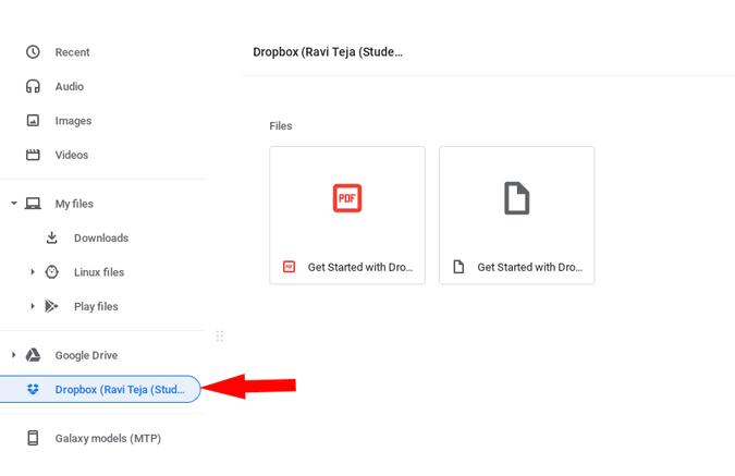 Dropbox installed on Chromebook