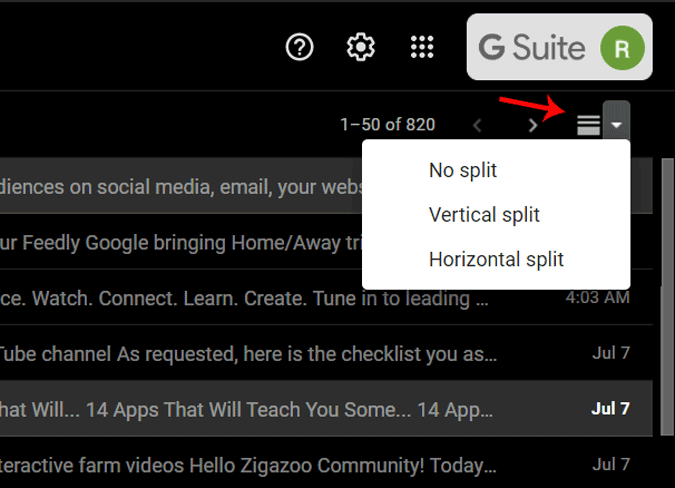 Shortcut to Reading Pane in Gmail