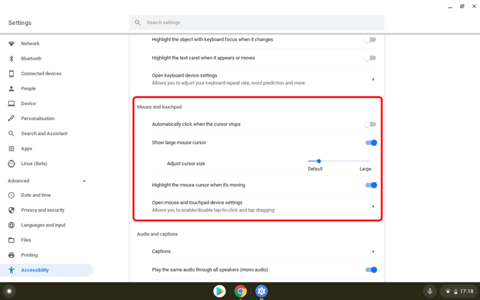 Mouse settings in Chromebook
