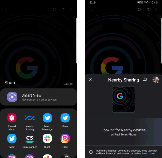 Sharing Files through Nearby Share