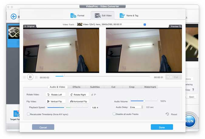 videoproc editor showing before and after screen
