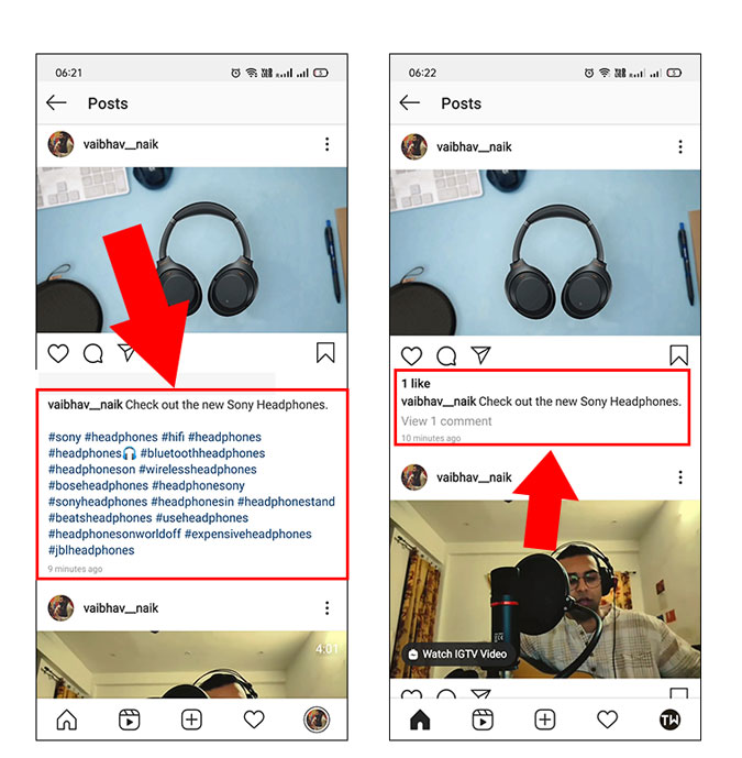 Hide Hashtags from Instagram