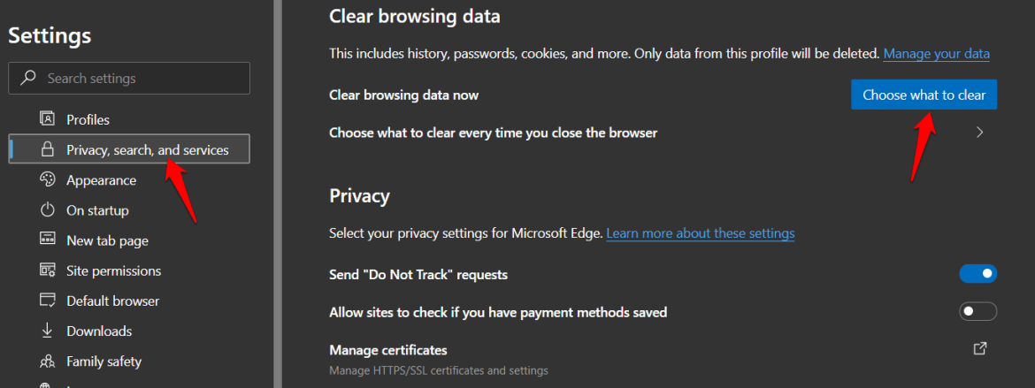 edge browser data privacy options