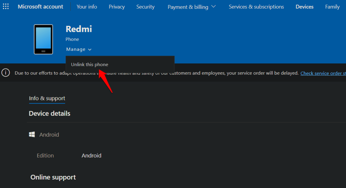unlink mobile from microsoft account