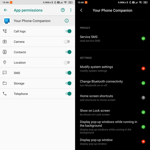app permissions for android app