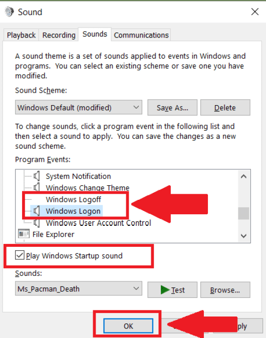 registry editor change windows login sound