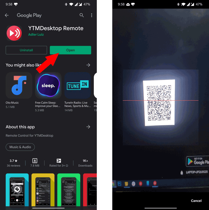 Sanning QR Code on Android with YTM Desktop Remote App