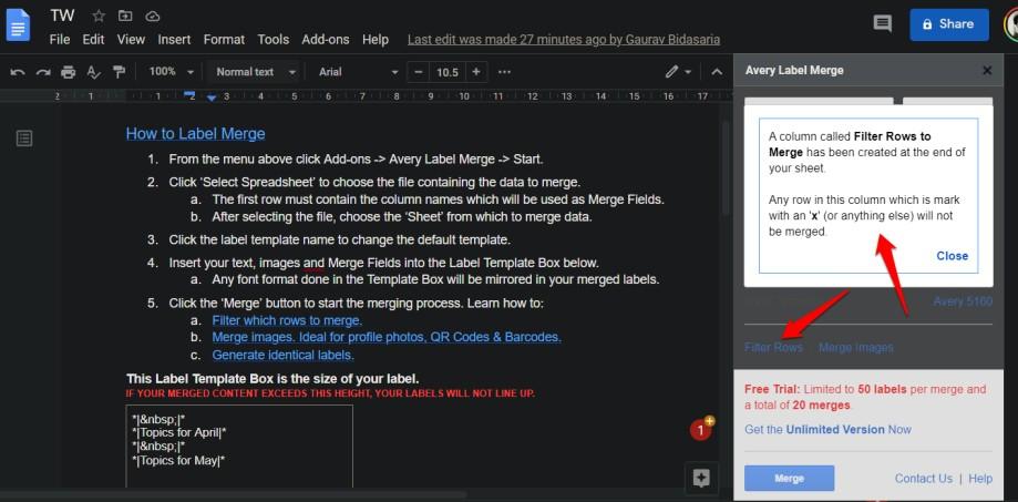 filter rows in google docs label maker