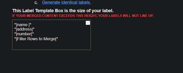 label content format