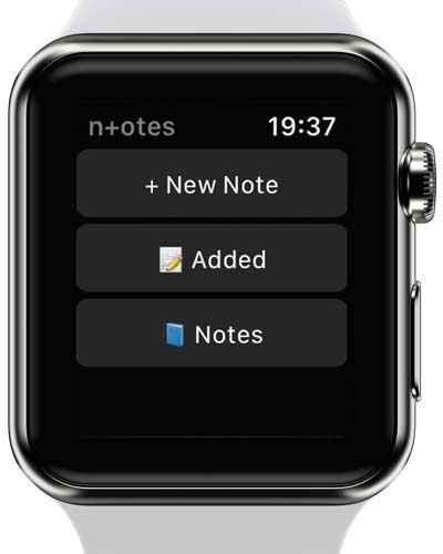 n+otes app screenshot on apple watch