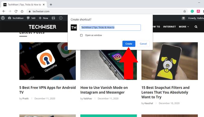 Rename a browser website desktop shortcut