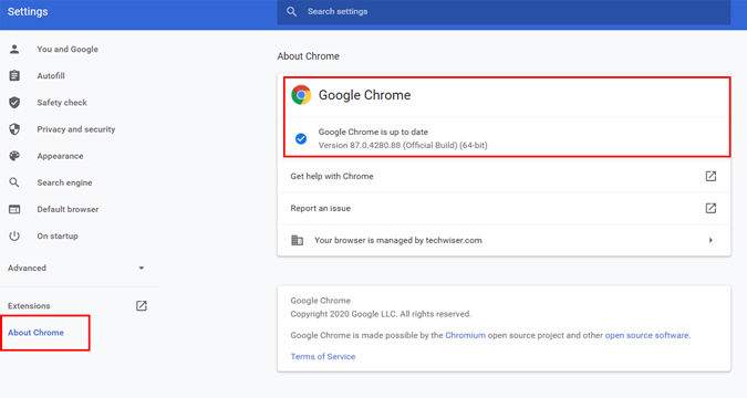 updating google chrome browser