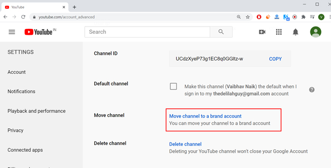 Move channel to a brand account in youtube