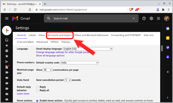 account and import tab on gmail
