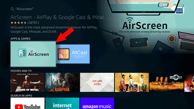 Search for Airscreen on Fire TV