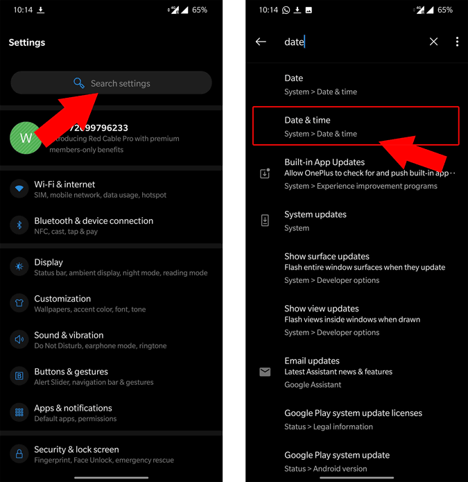 Date and Time settings in Android