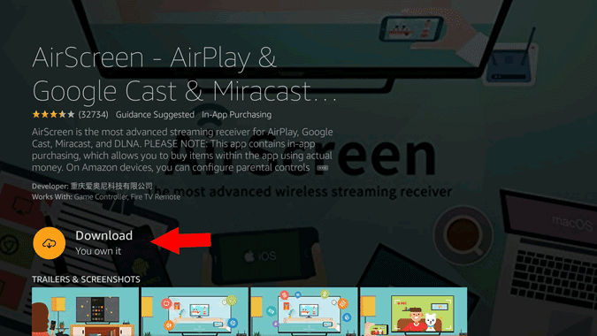 Downloading AirScreen app on Fire TV