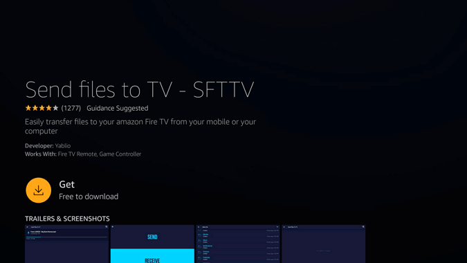 open and install send files to tv app