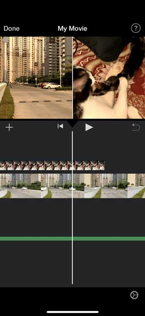 imovie timeline with two videos split in half on screen