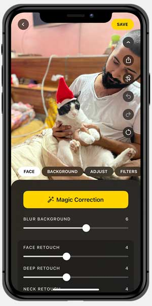 Lensa app interface with the photo of a cat in a Santa hat
